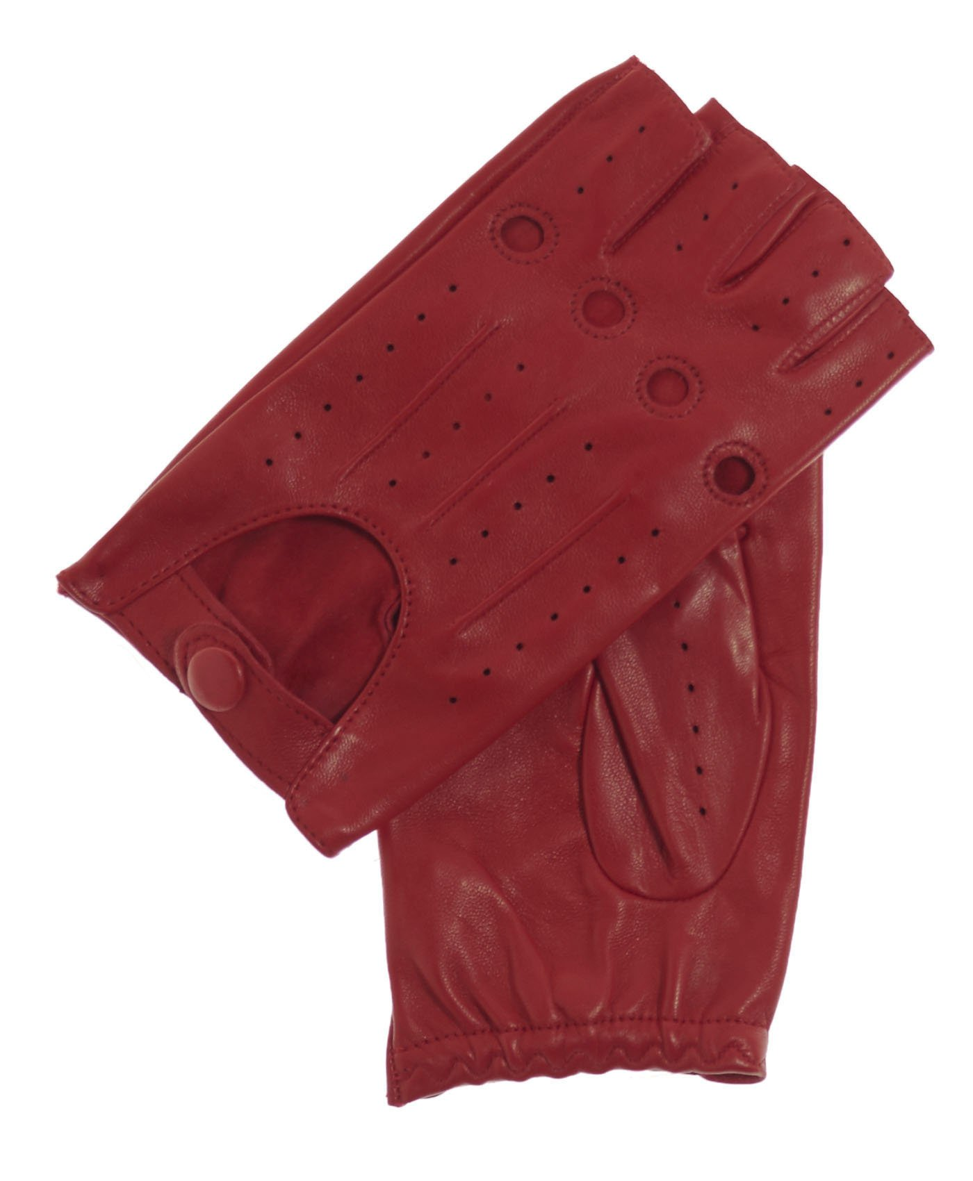 Fratelli Orsini Everyday Women's 1/2 Finger Leather Driving Gloves Size 7 1/2 Color Red