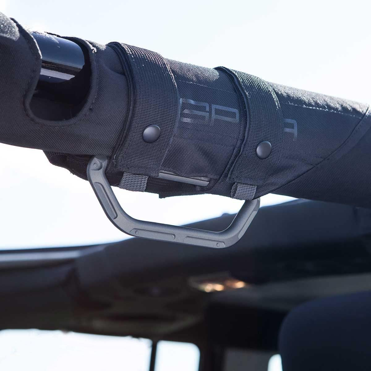 GPCA Metal Grab Handle GP-Grip LITE for Jeep Wrangler JL JT JK Sport Sahara Freedom Rubicon 4DR 2DR 2007-2020 with 3 roll bar Patented Pair, Jet Black
