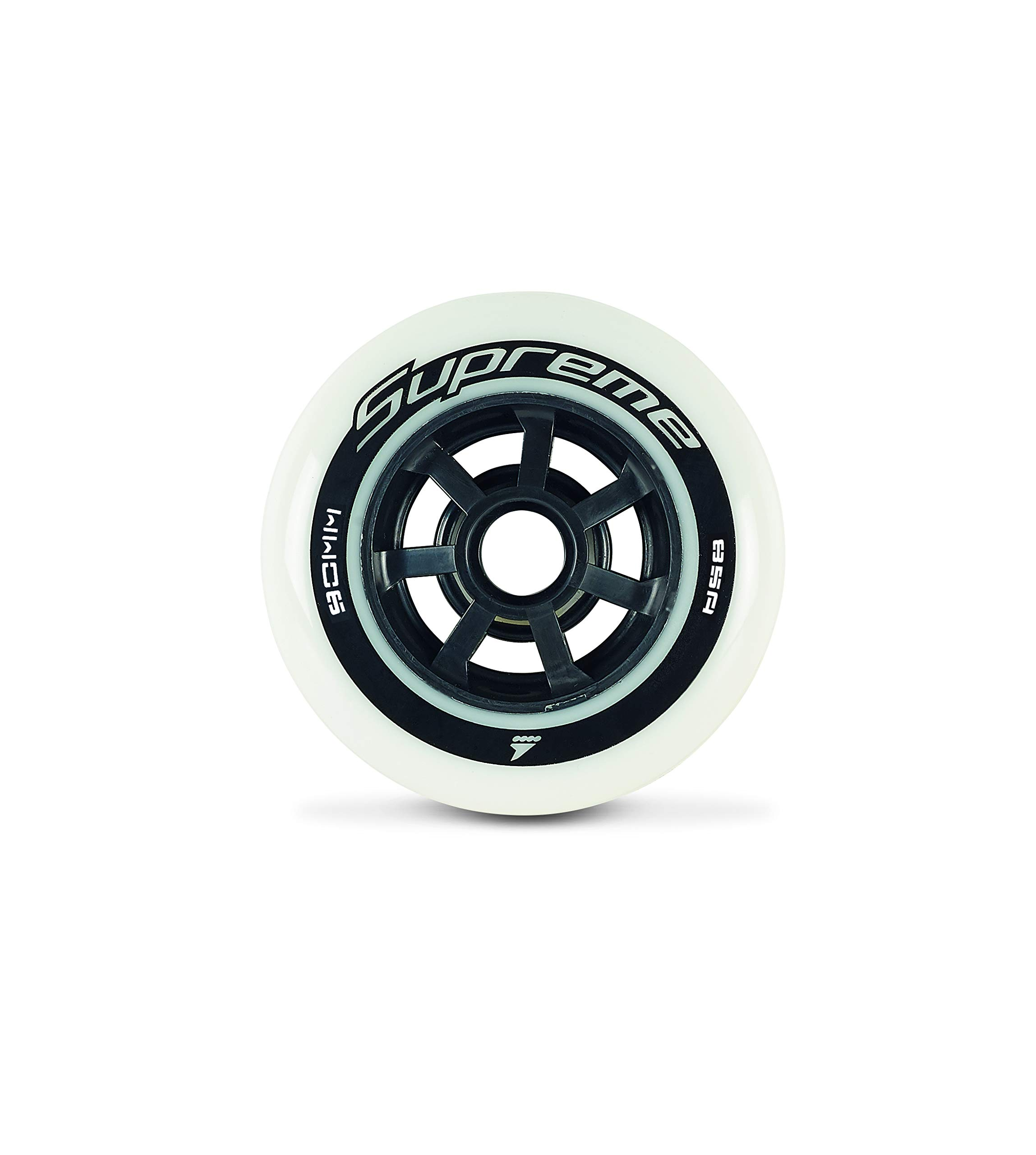 Rollerblade Supreme 90mm 85A Wheels, 8 Pack, White, US Unisex ST
