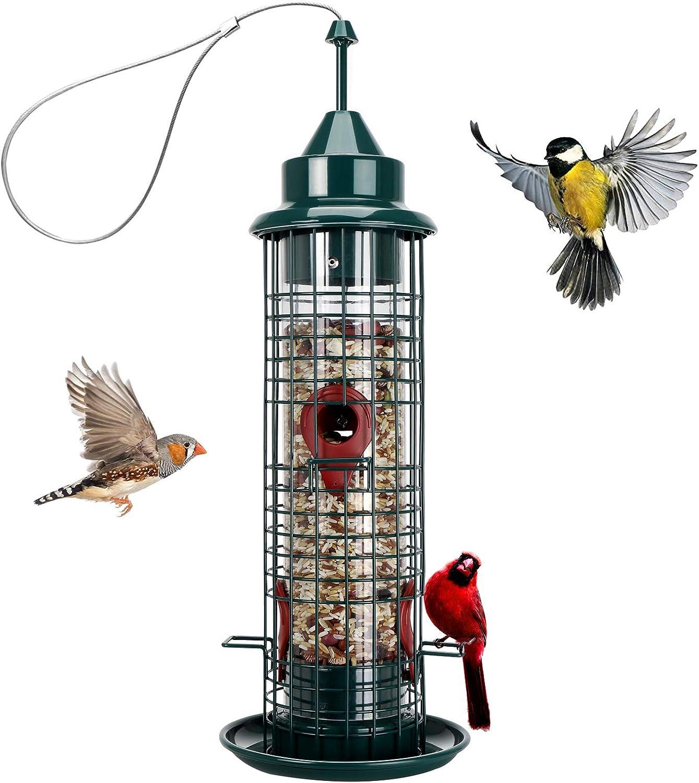 Bird Feeder with 4 Feeding Ports,Hanging Wild Bird feeders for Outside Garden Yard Decoration,1.3-Pound Seed Capacity (Green)
