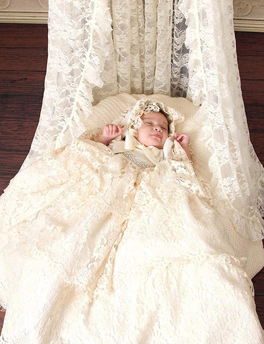 Portsvy Champagne Lace Baby Girls Christening Dresses with Bonnet Long Lace Baptism Gowns