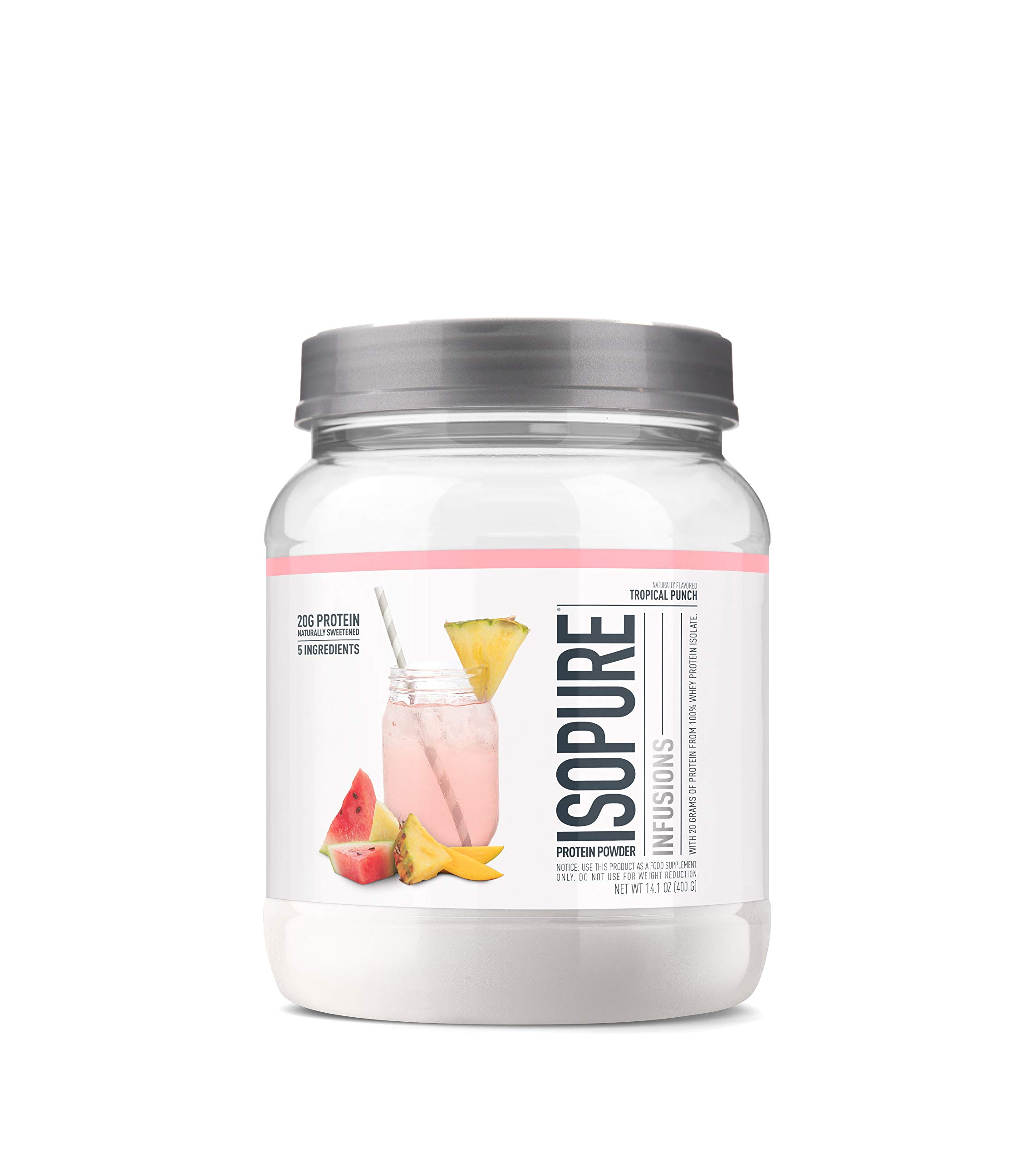 ISOPURE INFUSIONS, Refreshingly Light Fruit Flavored Whey Protein Isolate Powder, ''Shake Vigorously & Infuses in a Minute'', Tropical Punch, 16 Servings by Isopure