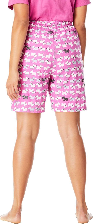 Dreams /& Co Womens Plus Size Print Pajama Shorts