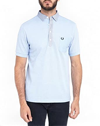 18c3962d8 Fred Perry Woven trim Polo T-shirt Slim Fit M7213 Sky Blue Small ...