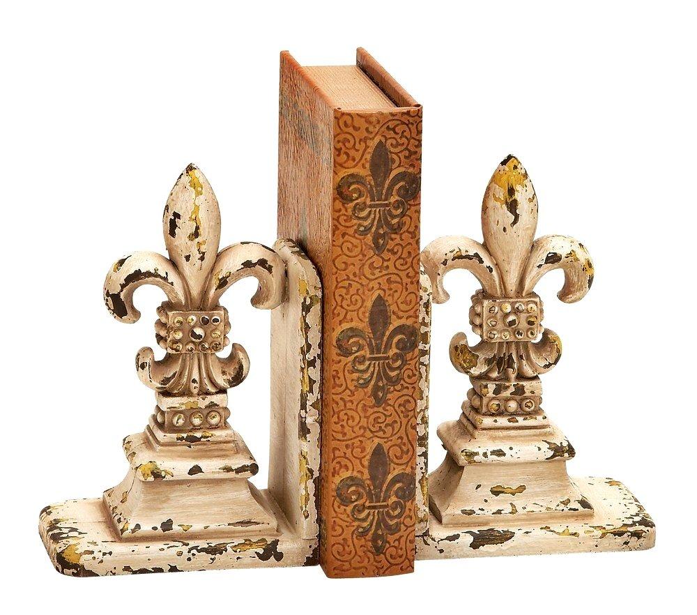 Bellaa 25600 Decorative Fleur-de-Lis Bookends Set, Library Polystone Book Holder by Bellaa