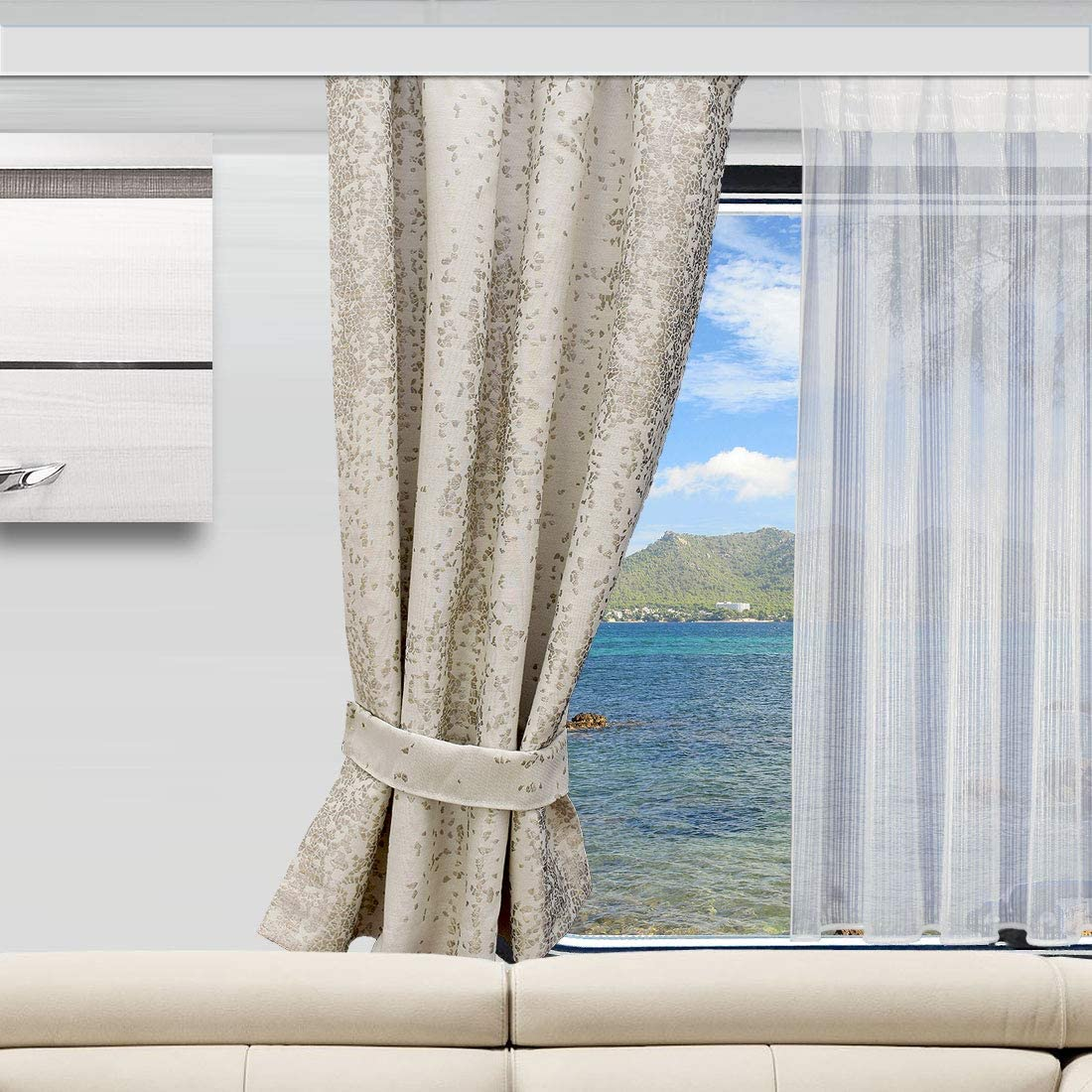 H/öhe /& Breite nach Ma/ß SeGaTeX home fashion Wohnmobil Caravan-Vorhang Luca beige Verdunklungsdeko Wohnwagengardine mit Reihband