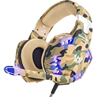 VersionTECH. Stereo Gaming Headset for PS4 Xbox One, 3.5mm Wired Over Ear Headphones with Mic and Volume Control, Stunning LED Lights for Laptop PC Mac and Nintendo Switch Games System - Camo