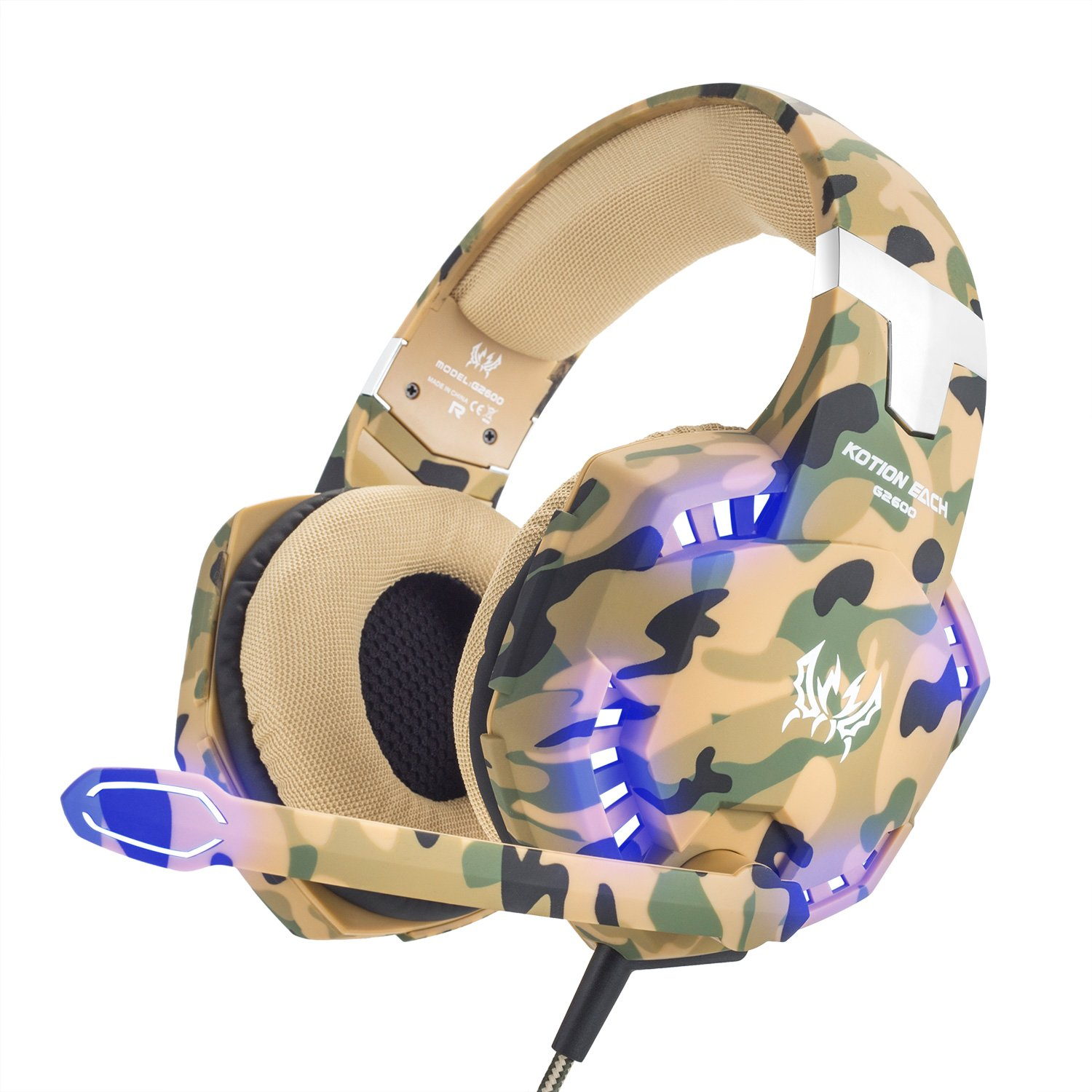 VersionTech Stereo Gaming Headset for PS4 Xbox One, Professional 3.5mm Over Ear Headphones with Mic and Volume Control, Stunning LED Lights for Laptop PC Mac iPad and Smart Phones -Camouflage by VersionTech