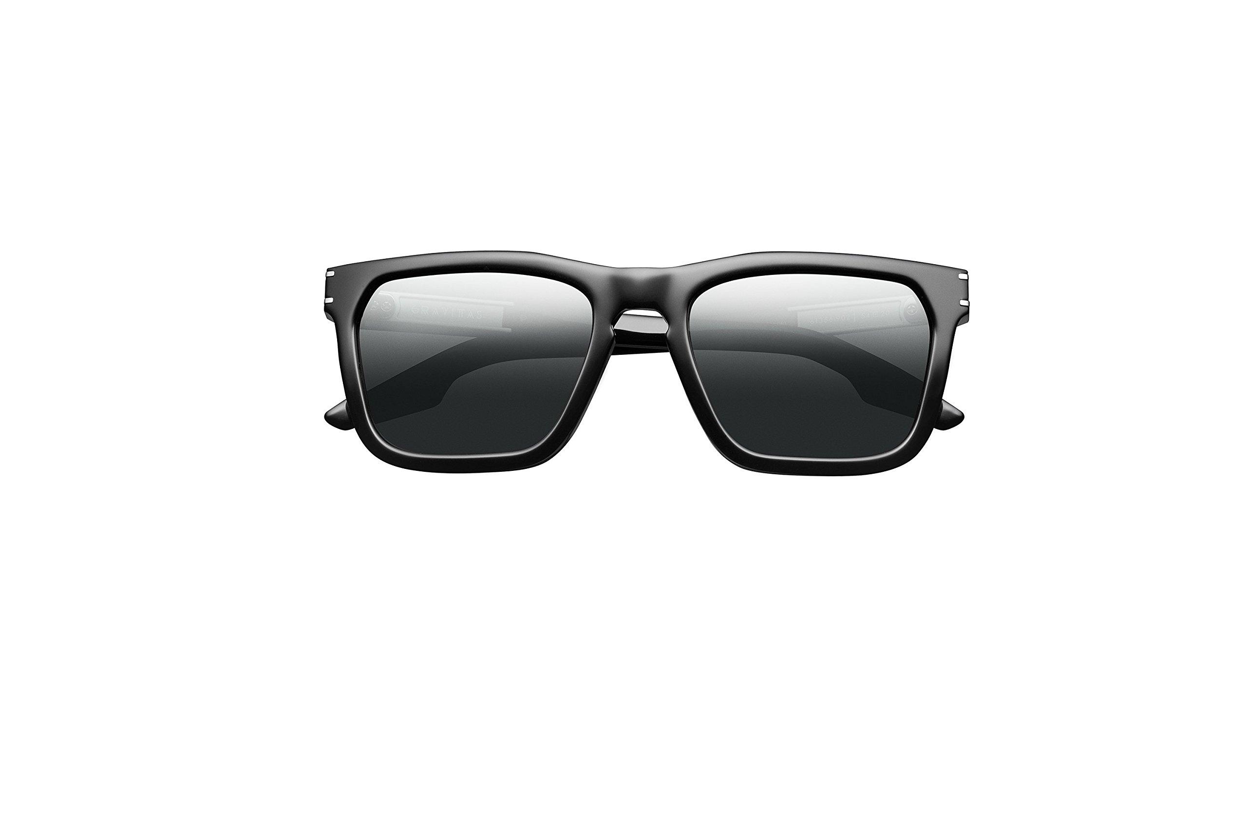 IVI Gravitas Sunglasses (Polished Black - Brushed Silver/Grey Polarized AR)