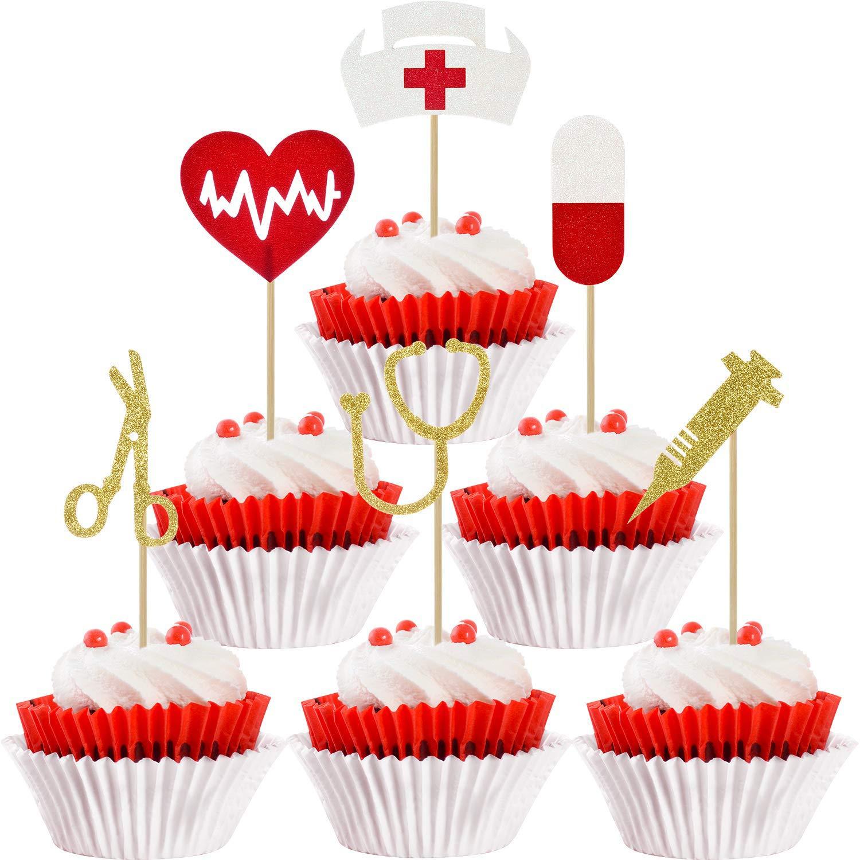 48 Pieces Nursing Cupcake Toppers Nurse Graduation Cupcake Toppers Rn Themed Cake Picks for Nurse Themed Party Cake Decoration