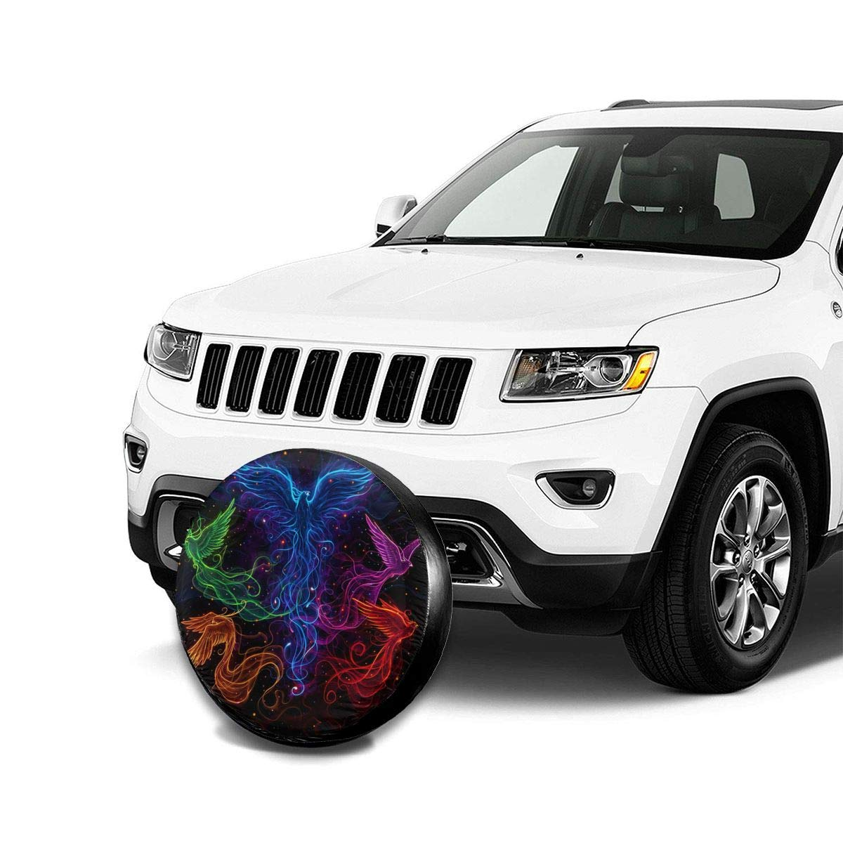 Fits Entire Wheel PecoStar Sky Full Of Colorful Phoenix Spare Wheel Cover Printed Polyester Tire Guard Protector Cover For SUV RV Trailer Truck Wheel