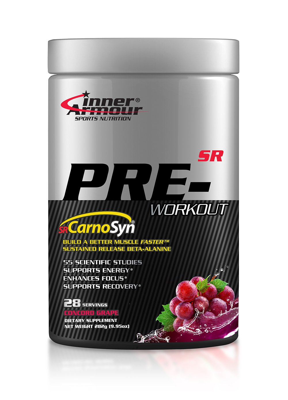 Inner Armour Pre-Workout with SR CarnoSyn®, Concord Grape | Sustained Release Beta-Alanine, Improved Muscle Retention of Carnosine | 28 Servings