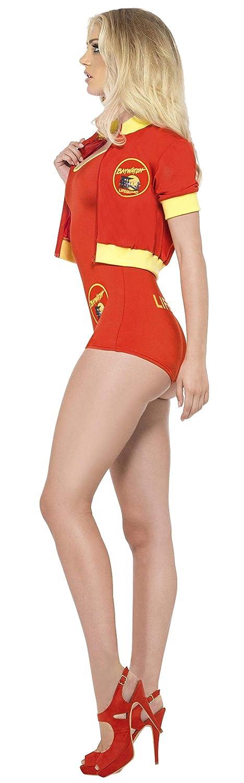 Smiffys Smiffys- Licenciado Oficialmente Disfraz de vigilanta de la Playa de Baywatch, Rojo, con Traje Entero, Cazadora y y, Color, S - EU Tamaño 36-38 ...