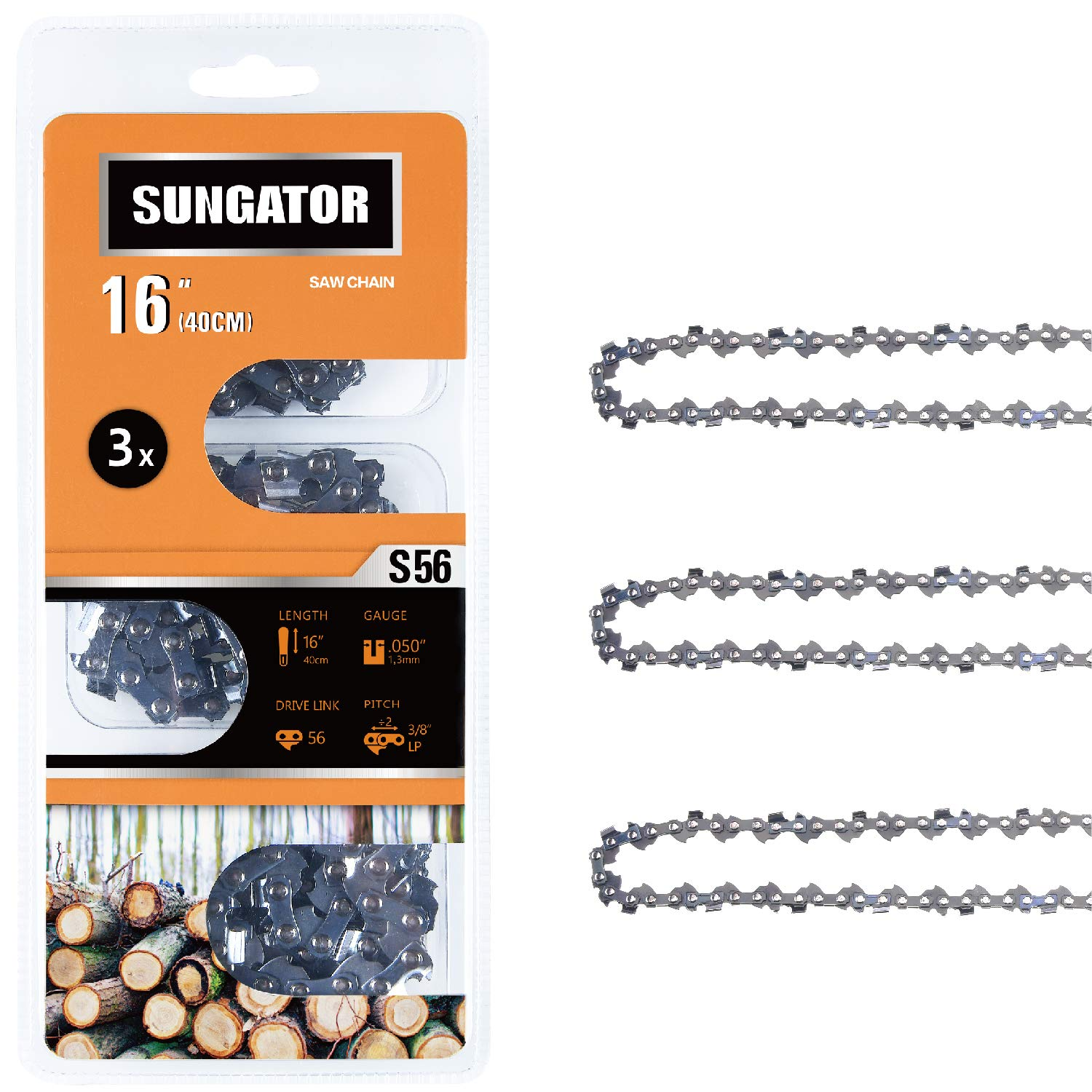 SUNGATOR 3-Pack 16 Inch Chainsaw Chain SG-S56, 3/8'' LP Pitch - .050'' Gauge - 56 Drive Links Fits Echo, Homelite, Poulan, Remington, Greenworks by SUNGATOR