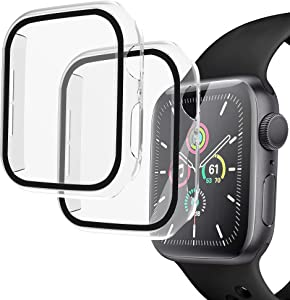 Arae Compatible for Apple Watch Series 6 5 4 SE 44mm Cases Full all around and overall Protection with Tempered Glass Screen Protector for Men Women-2 Packs Clear/Transparent