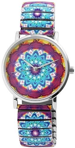 Reloj Mujer Amarillo Azul Rojo Flores Mandala analógico de Cuarzo Metal y alemán Cordón Números Arábigos Reloj de Pulsera: Amazon.es: Relojes
