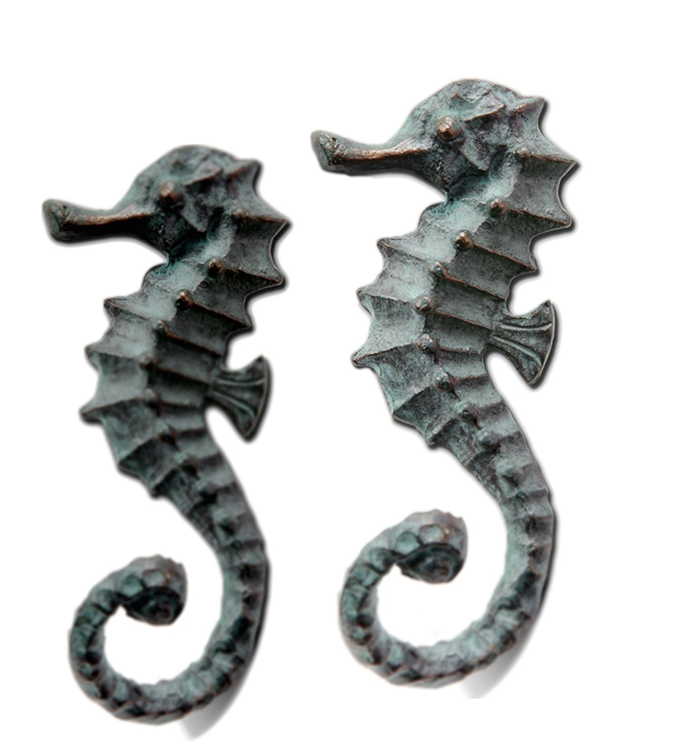 Seahorse Hooks Set of 2 Cast Iron 5 Inch Wall Décor SPI Home