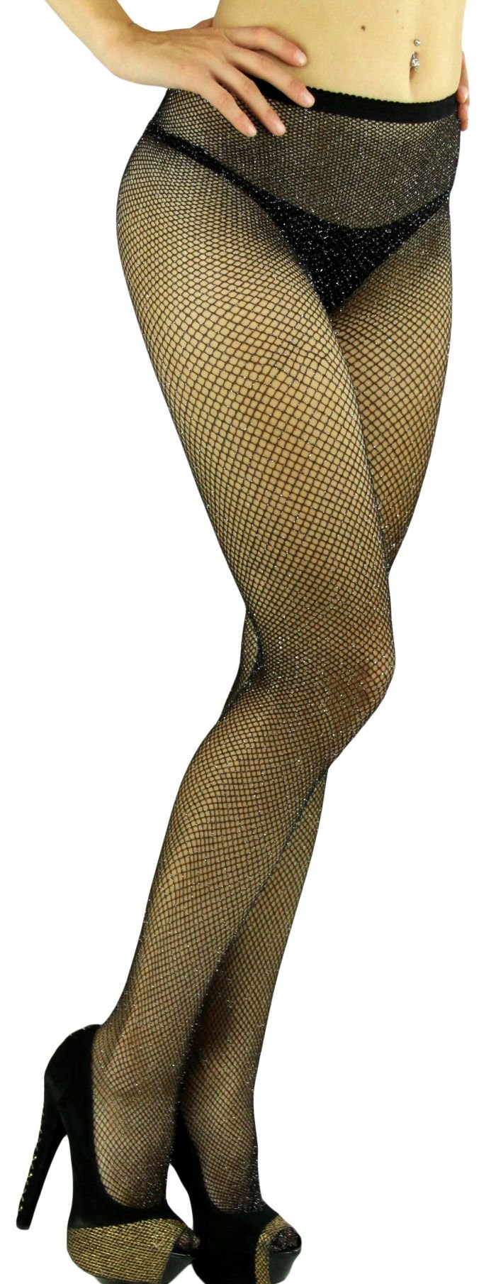 ToBeInStyle Women's Spandex Seamless Glittery Fishnet Pantyhose Tights Hosiery (Black with Silver Glitter)