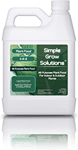 All Purpose Plant Food - Simple Grow Solutions - Liquid Fertilizer for Indoor House Plants & Outdoor Gardens - Concentrated Nutrients - Green, Growth & Hardiness - 32 Ounce