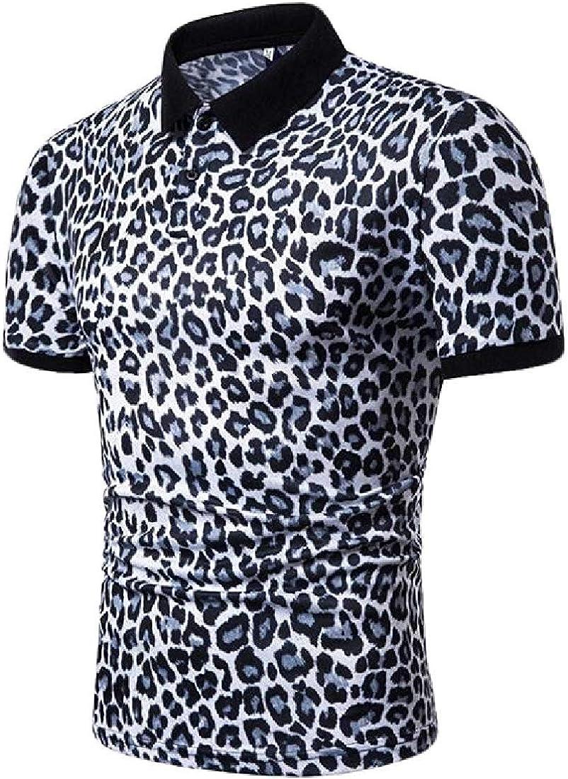 dahuo - Camiseta de Manga Corta para Hombre, diseño de Leopardo, Color Azul Marino Blanco Blanco S: Amazon.es: Ropa y accesorios