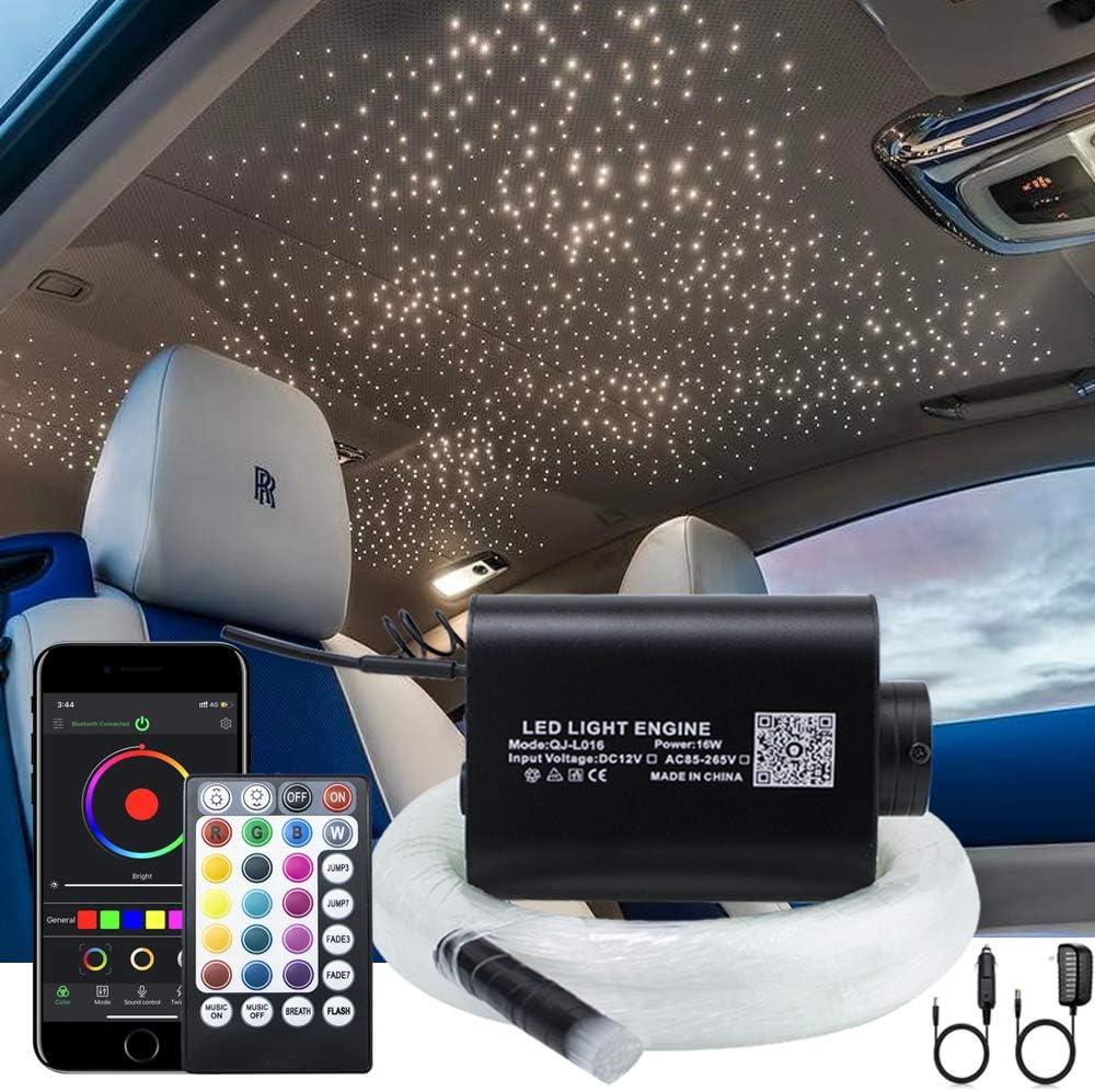 AKEPO 16W Fibre Optic Lights Star Ceiling Light Kit Music+APP Control for Home & Car, RGBW Sound Sensor Light Source with 28key RF Musical Remote Control and Fiber Cable 550pcs 0.75mm 13.1ft/4m
