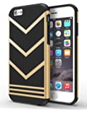 iPhone 6S Case, iPhone 6 Case, DACHUI [Anti-slippery Design] Durable Rugged Dual-Layer [PC + TPU] Ultra Slim Protective Shock-Absorption Anti-scratch Defender For Apple iPhone 6/6S (Black+Gold)