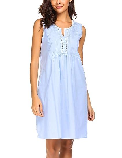 Langle Vintage Nightdress Womens Cotton Crochet Sleepwear Sleeveless Pjs  (Light Blue b4999c80a