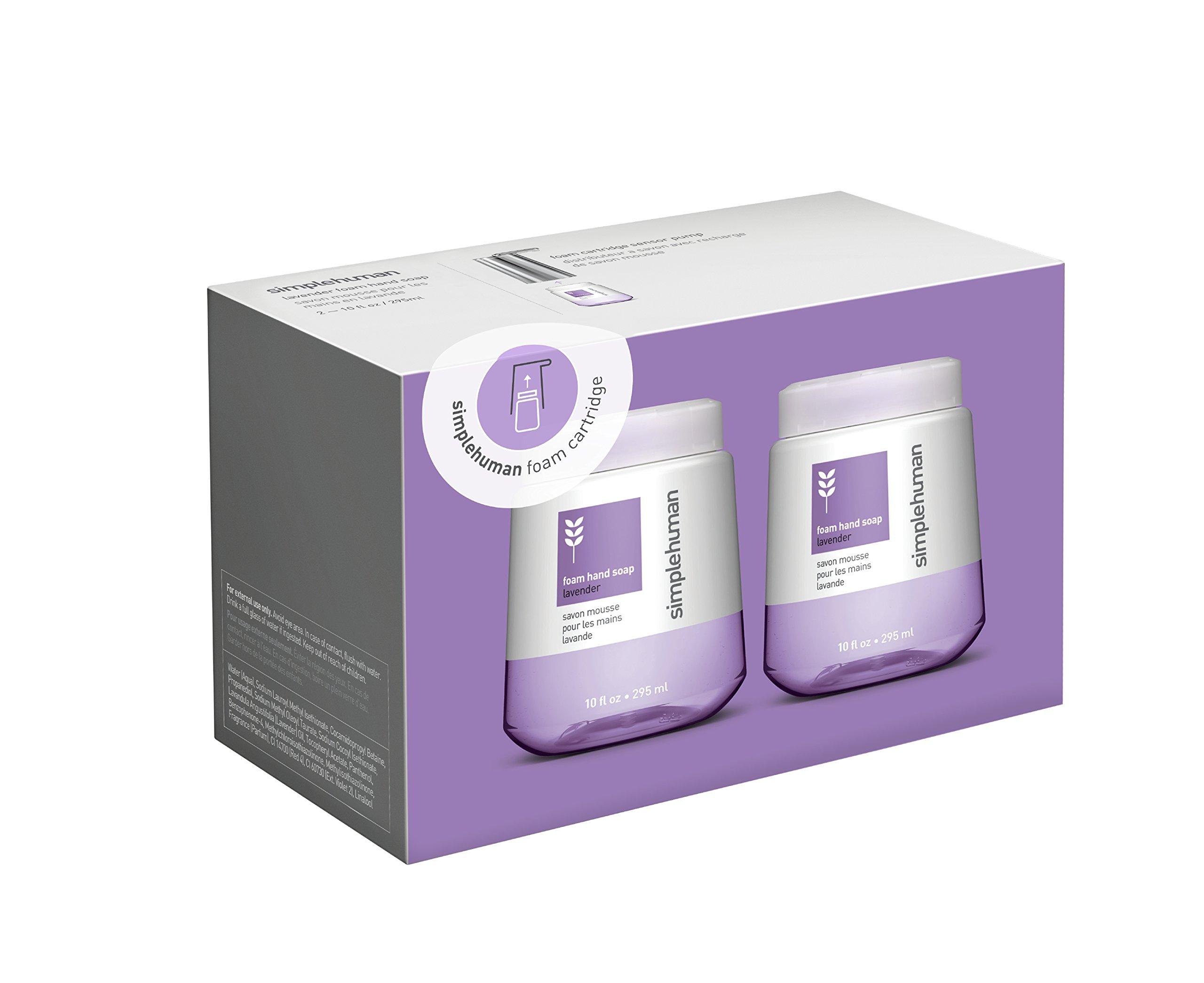 simplehuman Lavender Foam Hand Soap, 10 Fl. Oz. Foam Cartridges (2 pack)