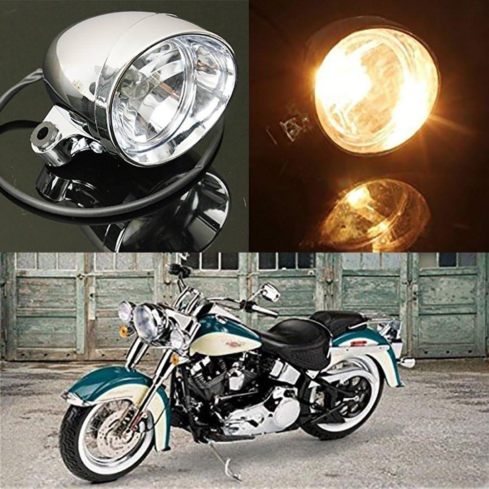 MagiDeal Moto Phare Pour Harley Bobber Chopper Softail Chrome Clair Feux Ampoule Lumi/ère Pi/èce Moto D/étach/ée