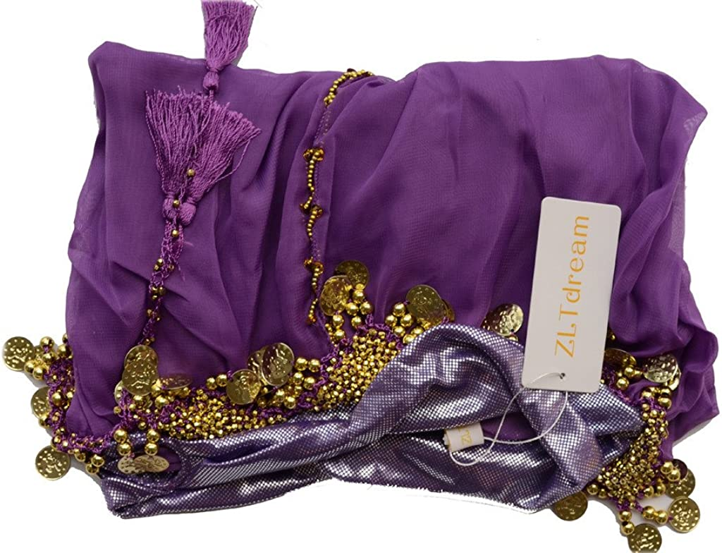 ZLTdream Ladys Belly Dance Chiffon Banadge Top and Lantern Coins Pants