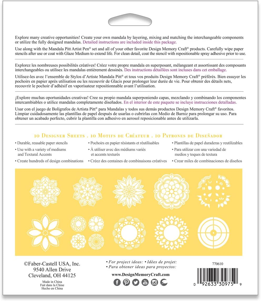 Faber-Castell Mixed Media Paper Stencils 103 Collection 13 Reusable Mandala