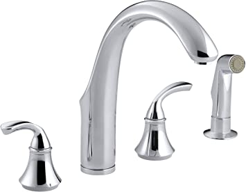 Kohler 10445 Cp Forté R 4 Hole Sink 7 3 4 Spout Matching Finish Sidespray Kitchen Faucet Polished Chrome Touch On Kitchen Sink Faucets Amazon Com