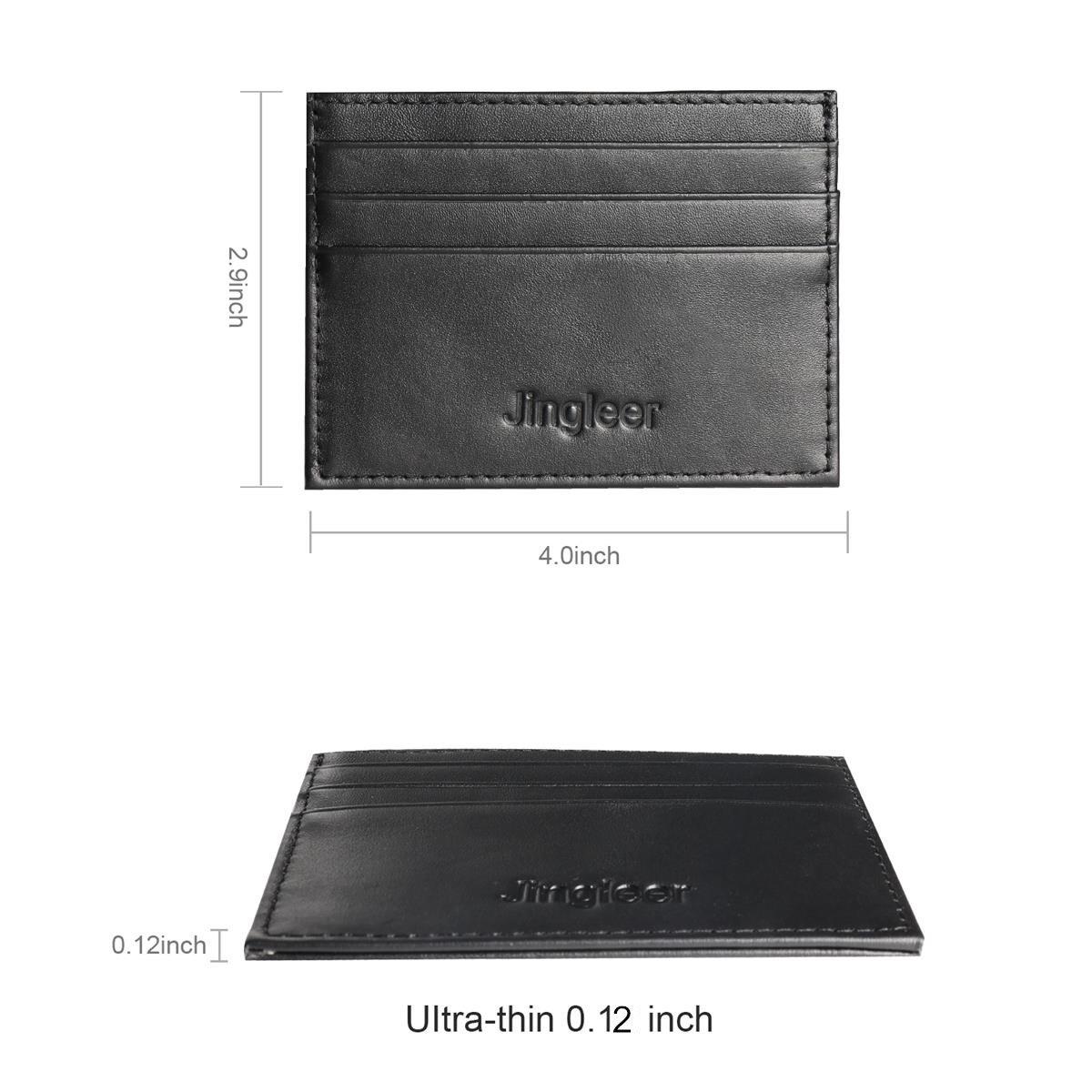 Credit Card Holder Wallet for Men, Jingleer RFID Blocking Slim Business Card Holder Front Pocket Money Clip (Genuine Leather)
