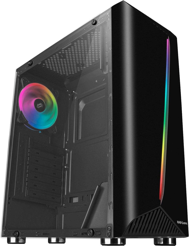 Mars Gaming MCX, Caja de PC ATX, Cristal Templado, Ventilador RGB DUAL RING, Negro