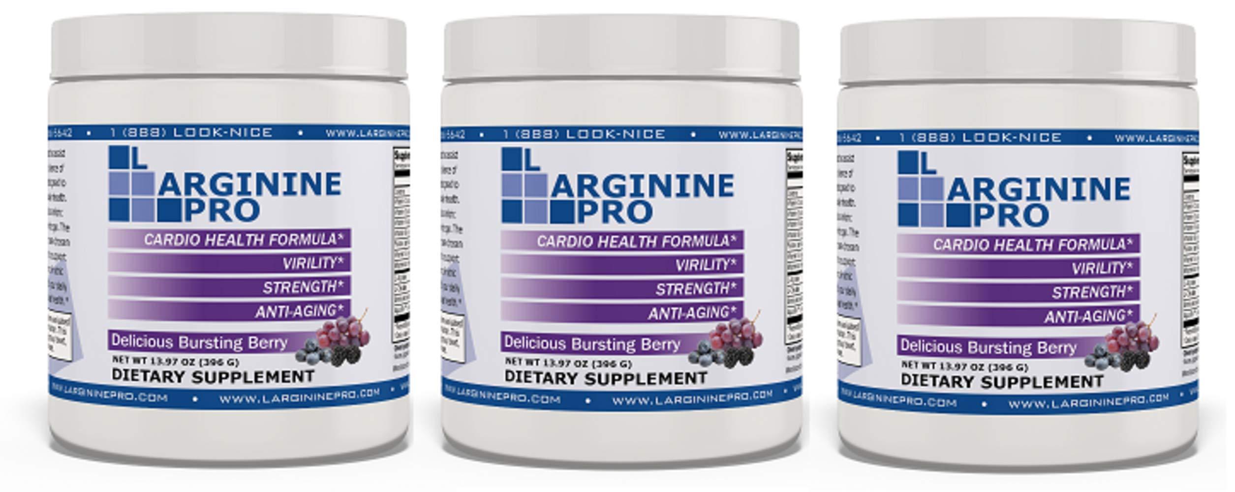 L-arginine Pro, 1 NOW L-arginine Supplement - 5,500mg of L-arginine PLUS 1,100mg L-Citrulline + Vitamins & Minerals for Cardio Health, Blood Pressure, Cholesterol, Energy (Berry, 3 Jars) by L-arginine Pro (Image #1)