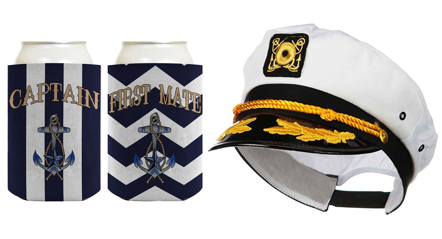 Captain Hat Yacht Cap Funny Coolie Captain and First Mate Chevron Can Coolie Bundle Chevron Navy by ThisWear