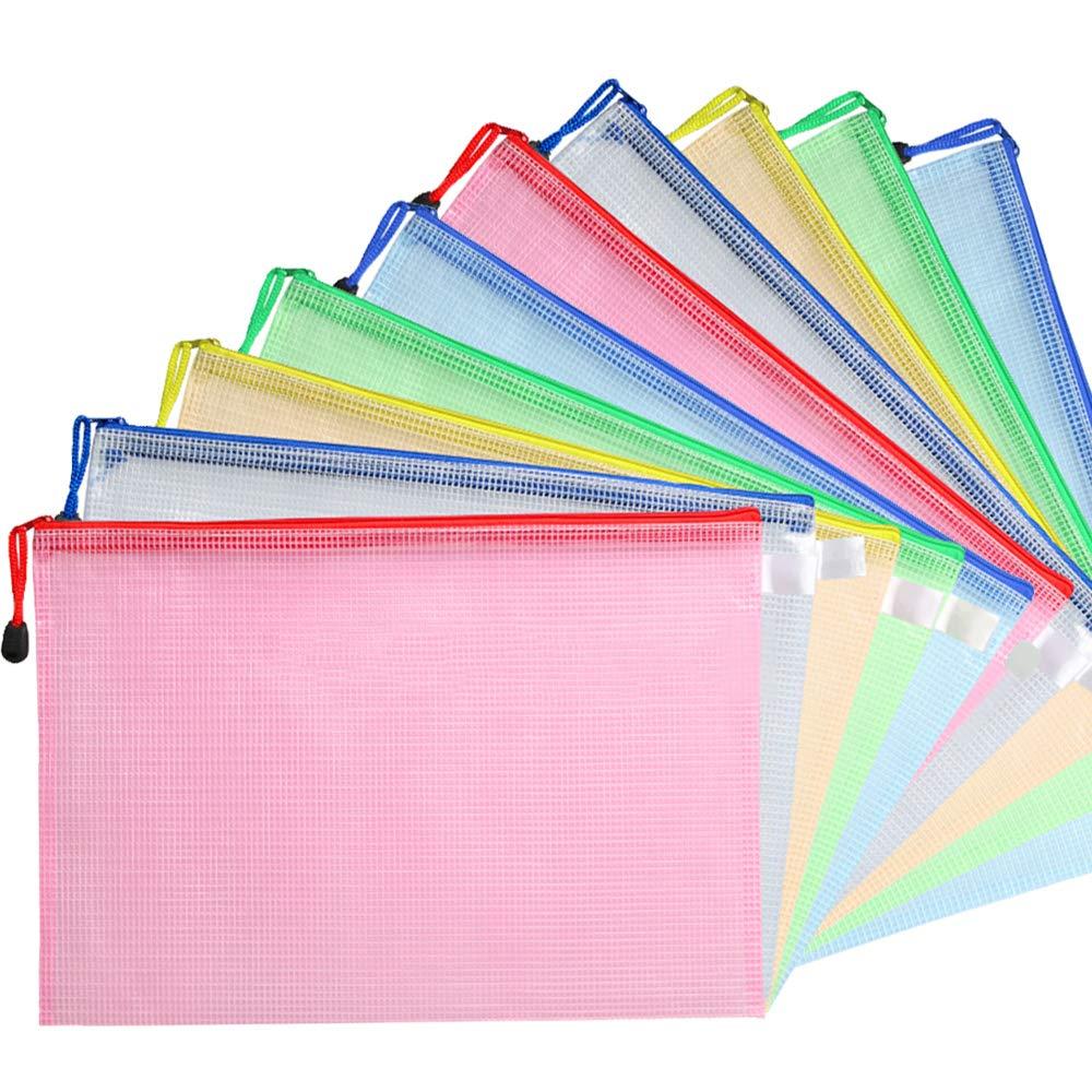 Miss. Sex 10pcs Plastic Mesh Zip Document Pouches Zip File Folders with A4 Size Paper, Office Supplies, Travel Storage Bags,5 Colors