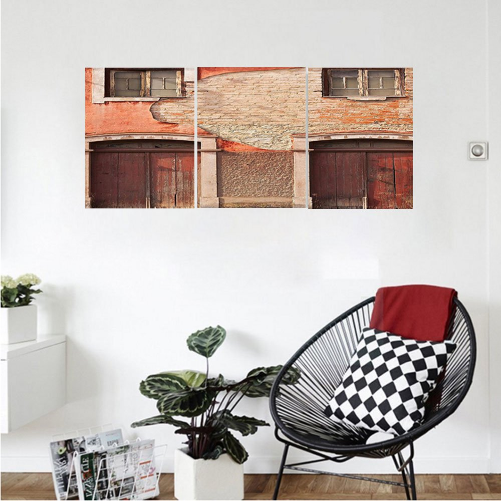 Liguo88 Custom canvas Rustic Decor Collection Abandoned Facade With Wood Windows And Doors In Portugal Damaged Rust Bedroom Living Room Wall Hanging