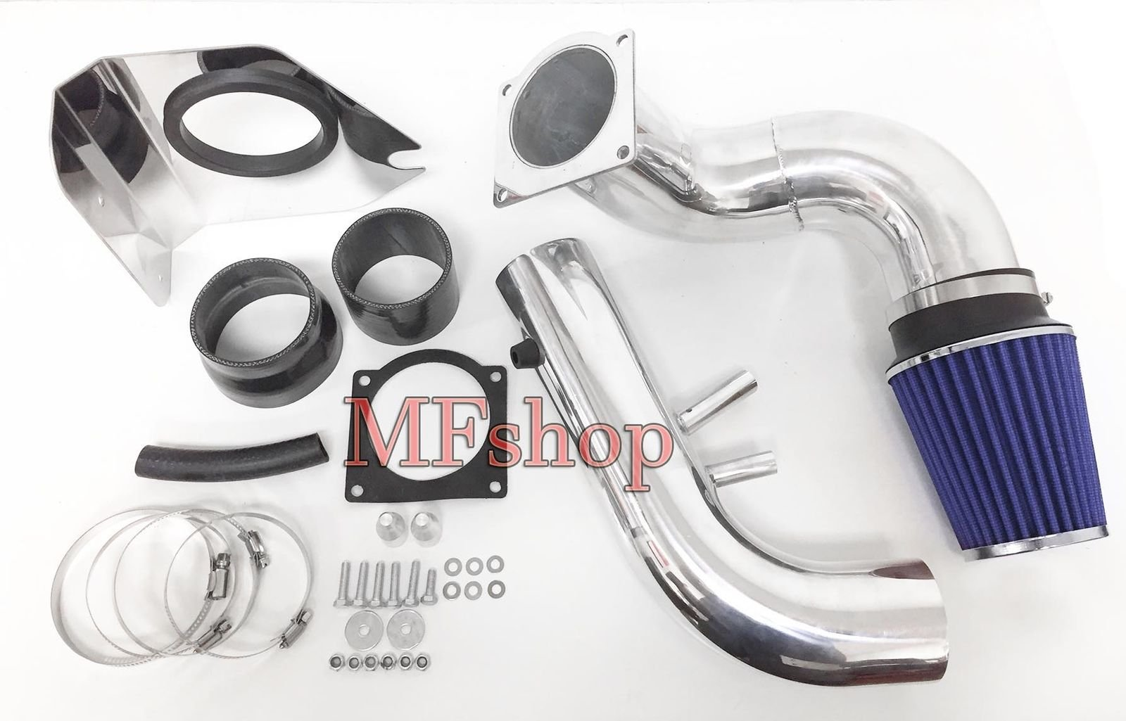 1996 1997 1998 1999 2000 2001 2002 2003 2004 Ford Mustang GT with 4.6L V8 Engine Cold Air Heat Shield Intake Filter Kit System (Black Accessories with Blue Filter)