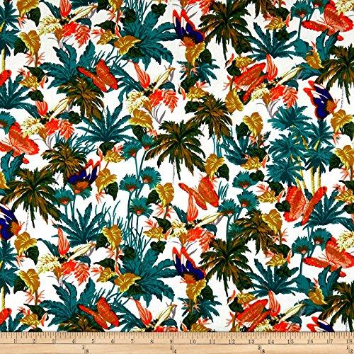 Fabric Merchants Cotton Linen Paradise Butterfly Garden, Green/Orange ()