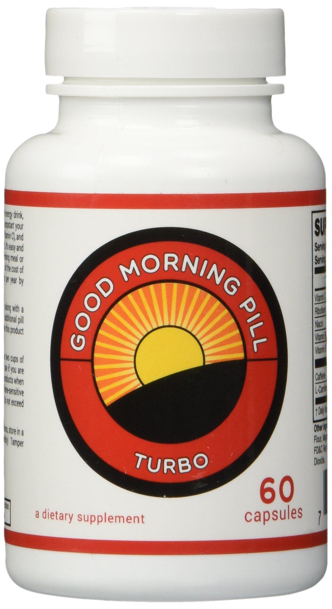 Good Morning Pill Turbo - 200mg Caffeine Pills - Extra Strength Energy Supplement  (60 Capsules)
