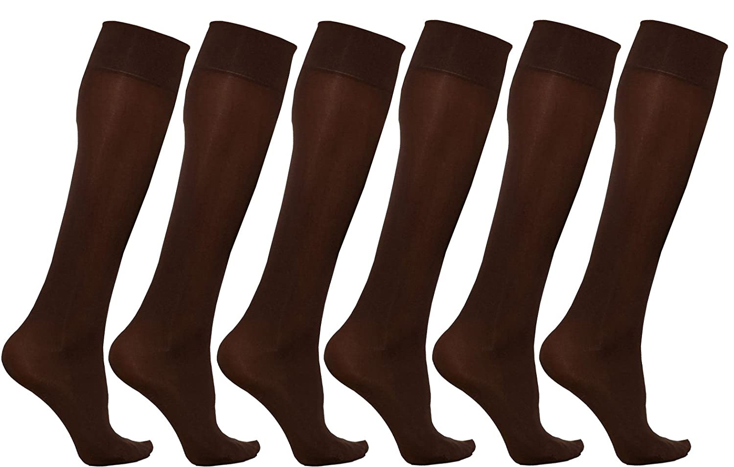 Women's Trouser Socks, 6 Pairs, Opaque Stretchy Nylon Knee High, Many Colors Women's Trouser Socks