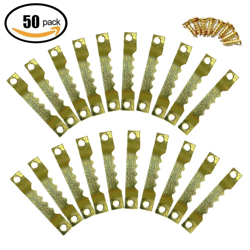 MINGZE 40mm Bild Kleiderbü gel, Bildaufhä nger, 50 Stü ck Sä gezahn Bilderrahmen hä ngend Kleiderbü gel, Doppelloch mit Schrauben, Goldene