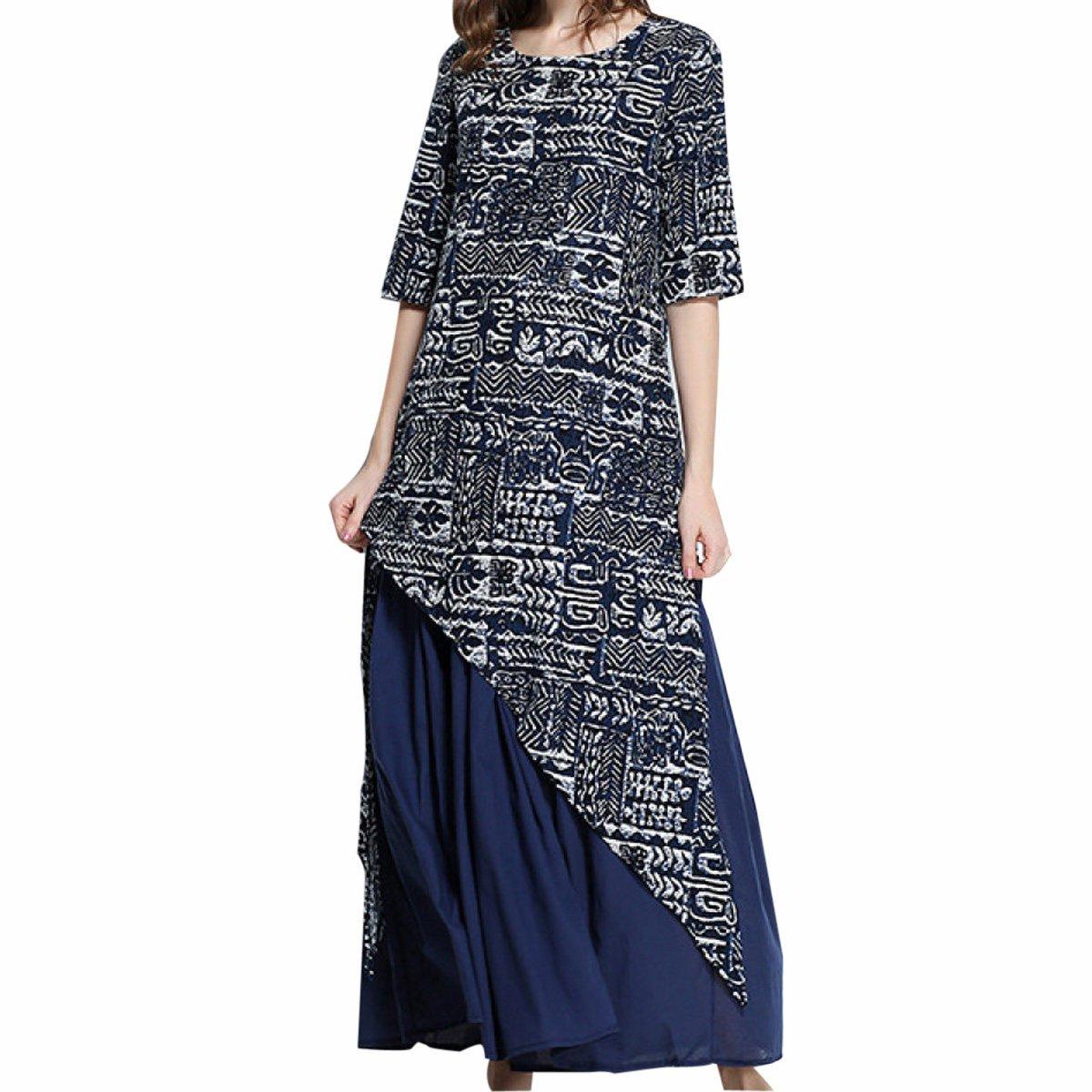 bluee In Summer Large Size Retro Folk Style Dress,blueeXL