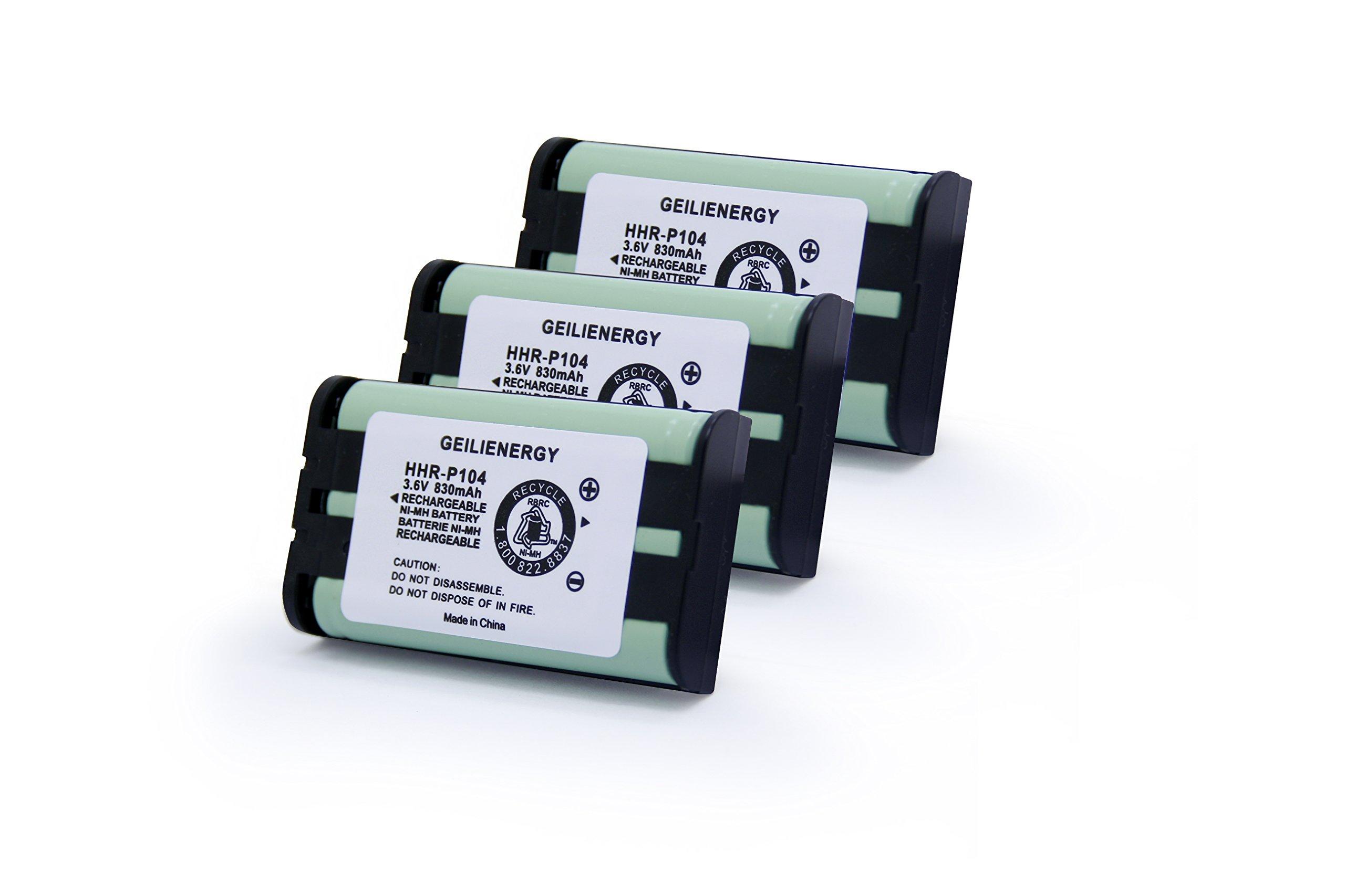 GEILIENERGY 3.6V 830mAh Type 29 Phone Battery Compatible with Panasonic HHR-P104, HHR-P104A, KX-TGA520M,KX-FG6550, KX-FPG391,KX-TG2388B KX-TG2396 KX-TG2300 Panasonic Phone Replacement(3 Pack)