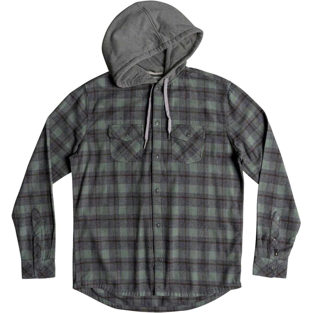 Quiksilver Men's Snap up Hooded Button Down Flannel Shirt, Dark Forest Snap up, XXL