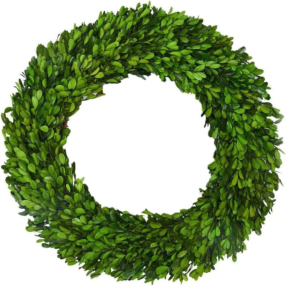 Boxwood Wreath X Larger 22 Inch Preserved Nature Boxwood Wreath Home Decor Stay Fresh For Years For Door Wall Window Party Décor Spring Summer Fresh Green Wreath Home Kitchen