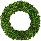 Boxwood Wreath 22 inch Preserved Nature Boxwood Wreath Home Decor Stay Fresh for Years for Door Wall Window Party Décor