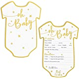 Baby Shower Predictions and Advice Cards, 50 Pack, Gold Foil, 5 x 7 in