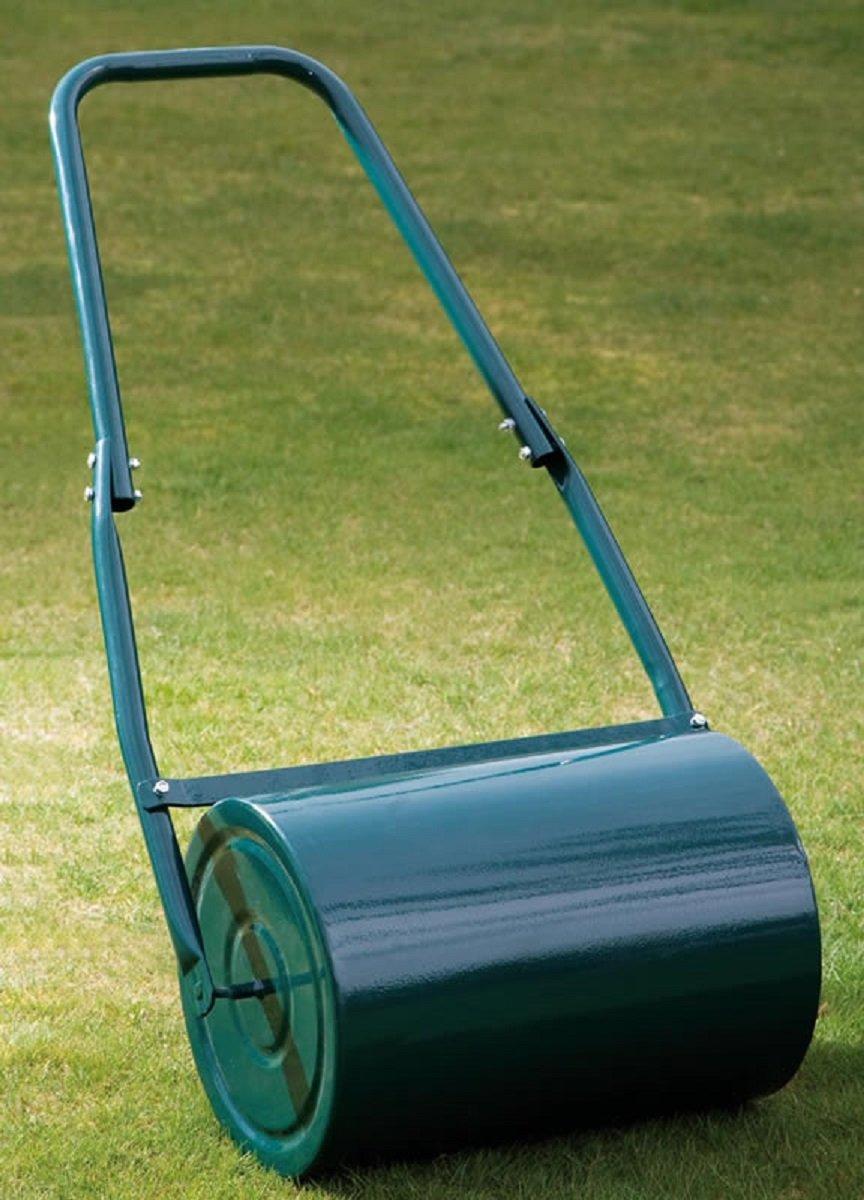 Garden Gear Garden Lawn Roller Heavy Duty Galvanised Steel Manual Push Rolling Drum, Water Sand Filled, 30L (Green)